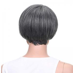 Graceful Short Side Bang Straight Mixed Color Synthetic Hair Wig - BLACK/GREY