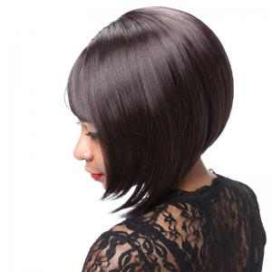 Graceful Short Side Bang Asymmetric Straight Synthetic Wig - DEEP BROWN