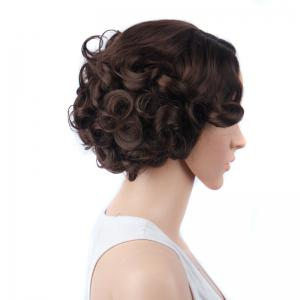 Retro Short Side Parting Curly Synthetic Wig -