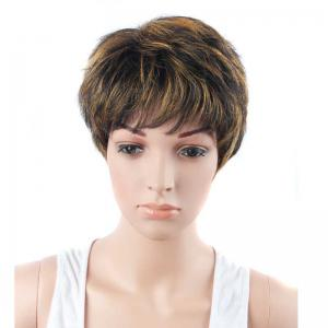 Short Full Bang Straight Mixed Color Synthetic Wig - COLORMIX