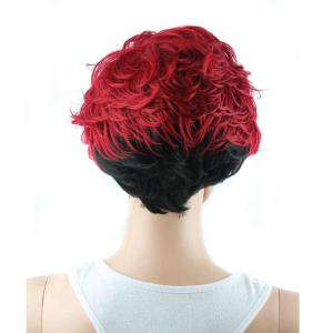 Short Full Bang Wavy Ombre Color Synthetic Wig - RED/BLACK