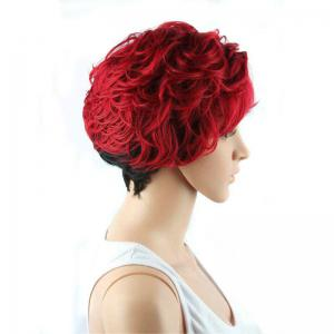 Short Full Bang Wavy Ombre Color Synthetic Wig - RED WITH BLACK