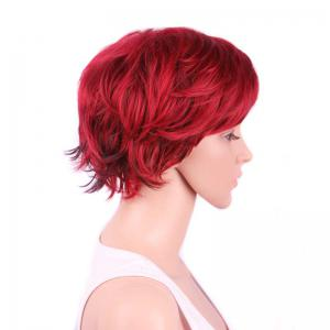 Short Side Bang Slightly Curled Synthetic Wig - WINE RED