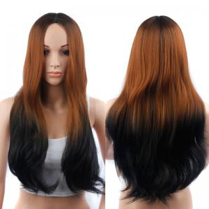 Long Middle Part Slightly Curled Ombre Color Synthetic Wig