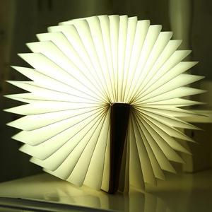 Creative 4Color Change Folding Book Table Bedside LED Night Light - Brown - S