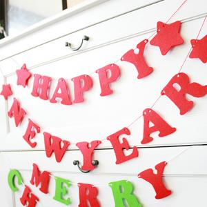 Happy New Year Letter Banner Prop Party Home Decoration