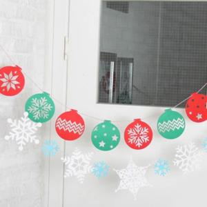 Snowflake Balloon Bunting Garland Christmas Party Decoration - RED/GREEN