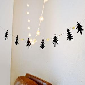 Christmas Party School Decoration Supplies Pine Tree Bunting Garland Prop -