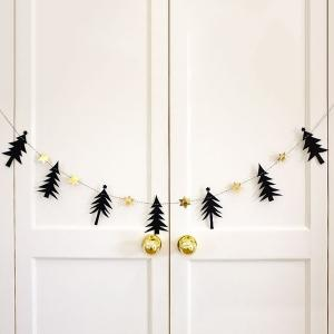 Christmas Party School Decoration Supplies Pine Tree Bunting Garland Prop - Black