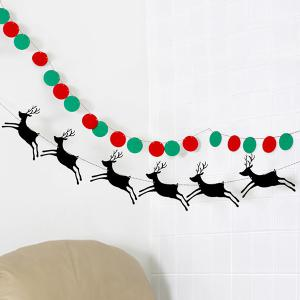 Christmas Party School Ball Bunting Garland Prop Decoration - RED/GREEN
