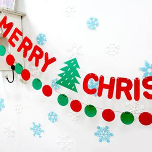 Merry Christmas Letter Banner Bunting Garland Party Decoration - RED
