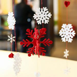 Christmas Showcase Decoration Snowflake Hanging Garland Prop - RED WITH WHITE