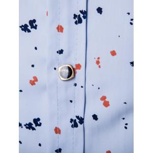 Floral Printed Contrast Insert Button Up Shirt - BLUE 4XL
