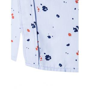 Contrast Insert Chest Pocket Printed Shirt - BLUE 5XL