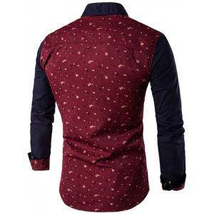 Contrast Insert Chest Pocket Printed Shirt - RED M