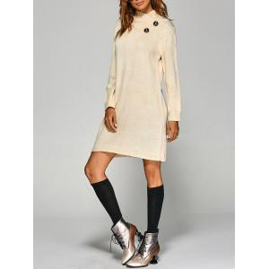 Tunic Knitted Long Sleeve Dress - Off-white - One Size