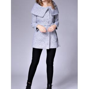 Cape Coat With Belt - LIGHT GRAY M