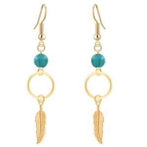 Leaf Turquoise Bead Drop Earrings - Golden