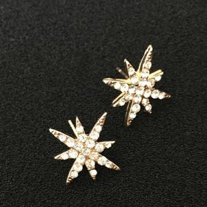 Rhinestone Floral Stud Earrings - GOLDEN