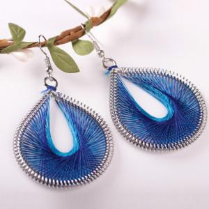 Bohemia Silk Yarn Waterdrop Statement Earrings - BLUE