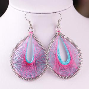 Bohemia Silk Yarn Waterdrop Statement Earrings - Purple