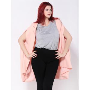 Loose-Fitting Asymmetric Cape - SHALLOW PINK 2XL