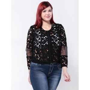 Openwork Mesh Patchwork Jacket - BLACK 5XL