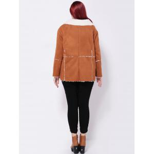 Faux Suede Spliced Jacket - CAMEL 5XL