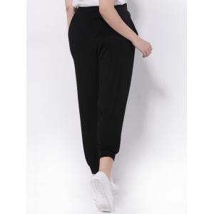 Plus Size High Waisted Jogger Pants - BLACK 5XL