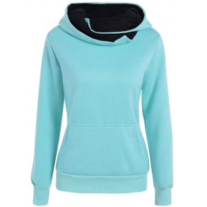 Slim  Fit Hoodie With Pocket - Light Blue - S