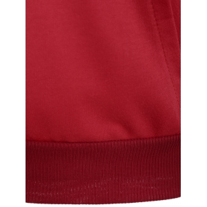 Pocket Raglan Sleeve Hoodie - DEEP RED M
