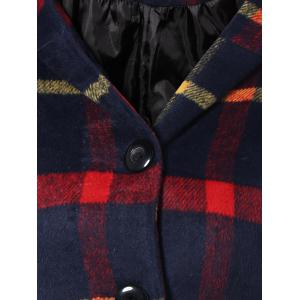 Checked Woolen Coat With Hoodie - PURPLISH BLUE XL