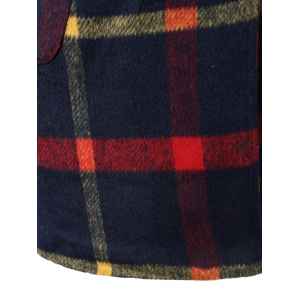 Checked Woolen Coat With Hoodie -