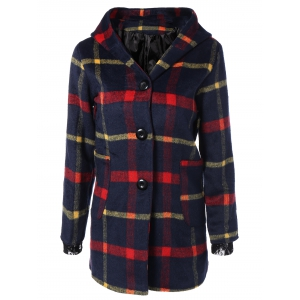 Checked Woolen Coat With Hoodie - Purplish Blue - L