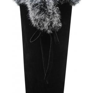 Faux Fur Zipper Platform Knee-High Boots -