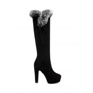 Faux Fur Zipper Platform Knee-High Boots - Black - 38