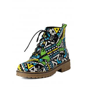 Tie Up Patchwork Flat Heel Ankle Boots -