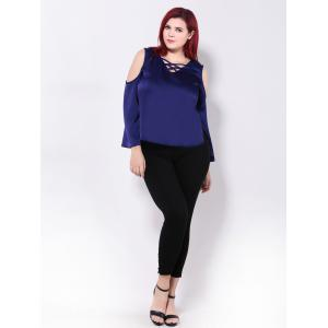 Hollow Out Criss-Cross Chiffon Blouse -