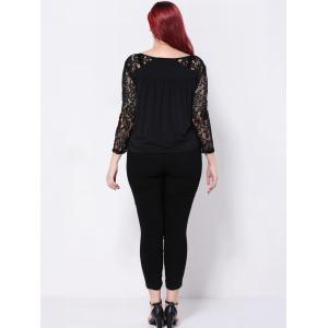 See-Through Floral Lace Patchwork Blouse -