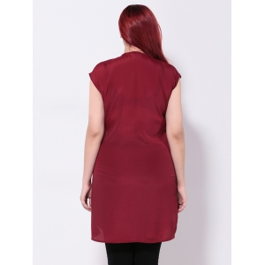 Surplice Asymmetric Chiffon Longline Blouse - WINE RED 2XL
