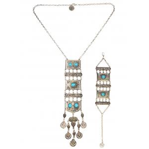 Boho Totem Coin Geometric Necklace Set