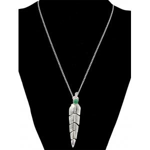 Faux Pearl Feather Pendant Necklace -