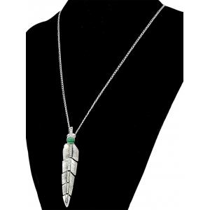 Faux Pearl Feather Pendant Necklace - SILVER