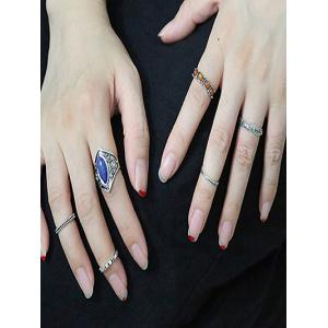 Retro Faux Gem Carved Ring Set -
