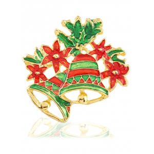 Hollow Enamel Christmas Bell Floral Brooch