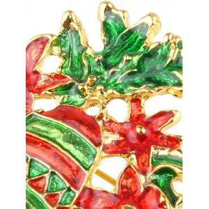 Hollow Enamel Christmas Bell Floral Brooch - EMERALD