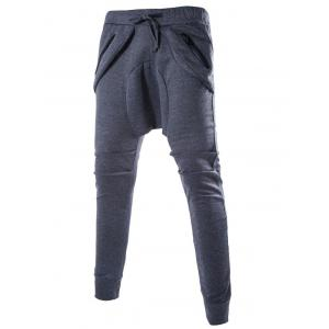 Zipper Embellished Loose Fit Low Crotch Jogger Pants