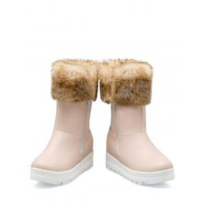 Increased Internal Faux Fur Zipper Snow Boots - PINK 38