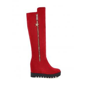 Zip Hidden Wedge Knee High Boots