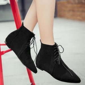 Pointed Toe Lace Up Flat Ankle Boots -